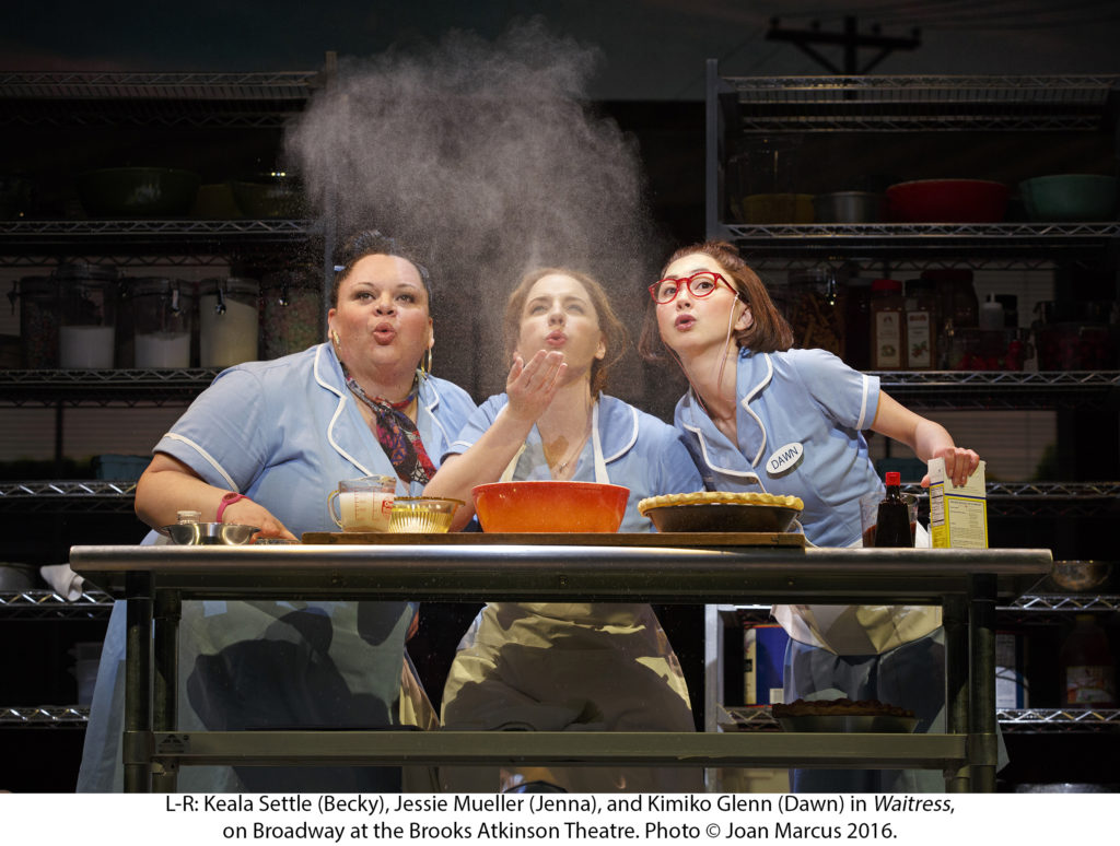 WAITRESS MUSICAL ORIGINAL BROOKS ATKINSON THEATRE 256 W. 47TH ST. Jessie Mueller Jenna Nick Cordero Earl Christopher Fitzgerald Ogie Keala Settle Becky Eric Anderson Cal Charity Angel Dawson Ensemble Thay Floyd Ensemble Drew Gehling Dr. Pomatter Kimiko Glenn Broadway debutDawn Molly Hager Broadway debut Ensemble Aisha Jackson Ensemble Dakin Matthews Joe Jeremy Morse Broadway debut Ensemble Ragan Pharris Broadway debut Ensemble Stephanie Torns Ensemble Ryan Vasquez Ensemble