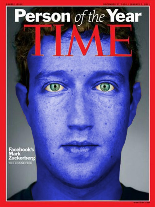 "The latest Time magazine cover of ""Person of the Year"" of Mark Zuckerberg"
